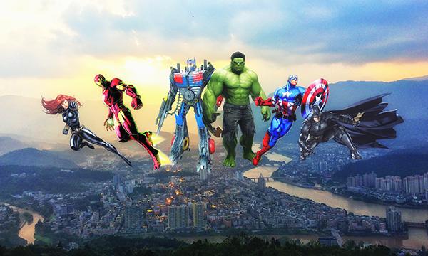 美国超级英雄来到雅安后,钢铁侠居然在开挖掘机!!